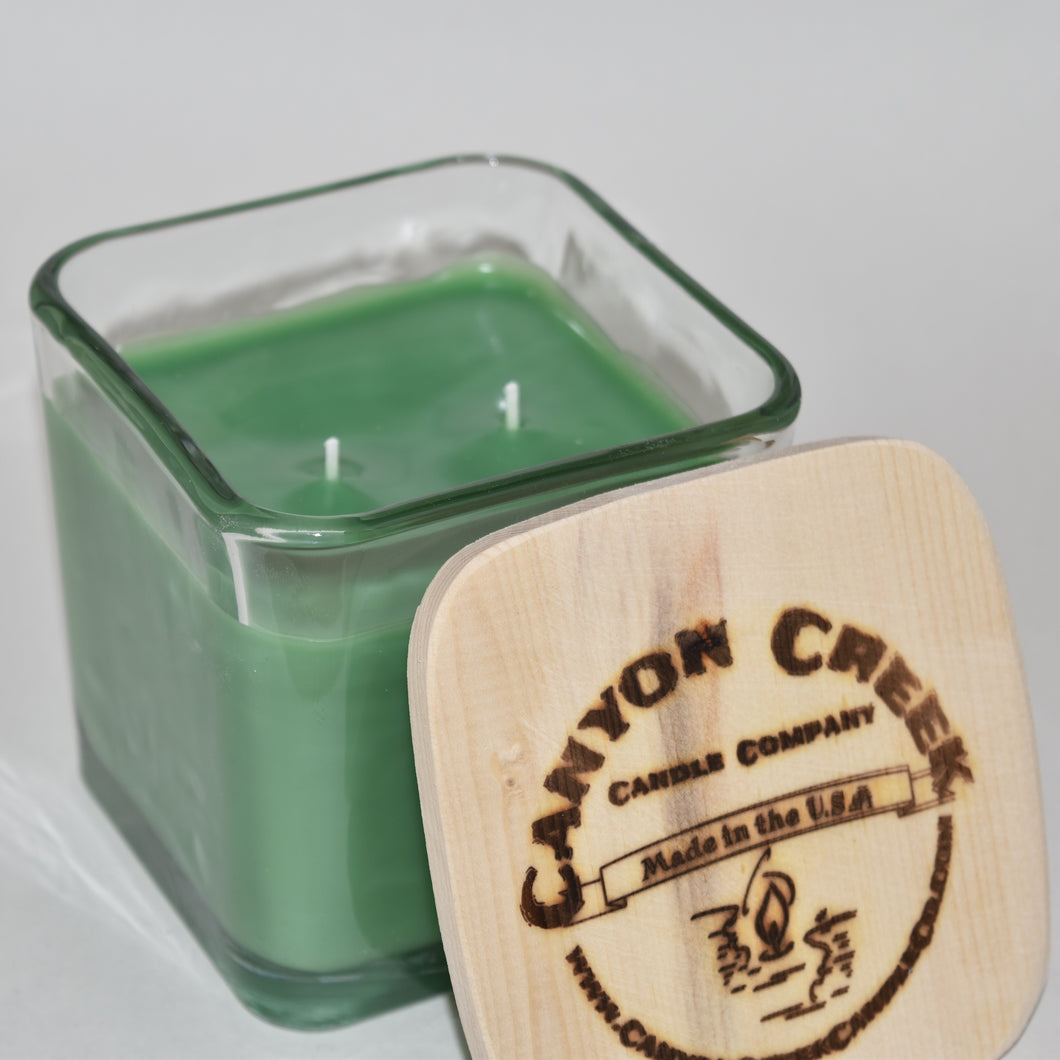 Green Apple 14oz cube jar candle