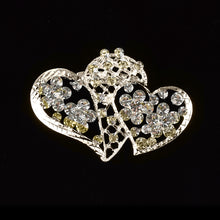Load image into Gallery viewer, Rhinestone Brooches Crystal Double Heart Pin.
