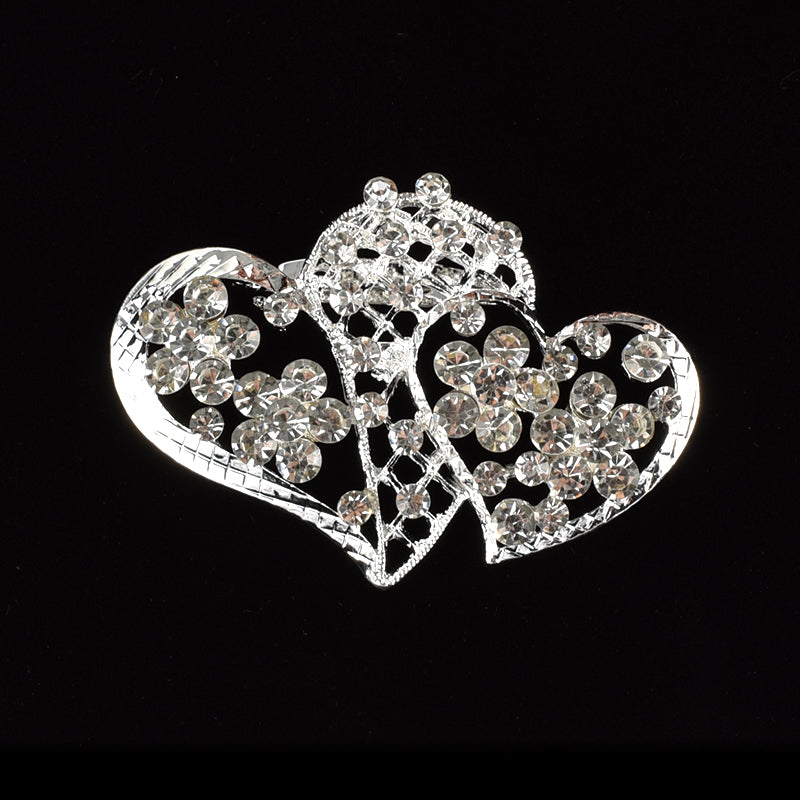 Rhinestone Brooches Crystal Double Heart Pin.