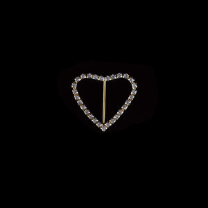Rhinestone Brooches-Rhinestone Heart Buckle