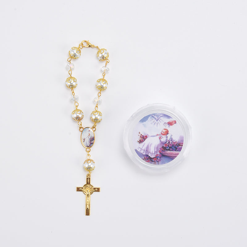 Rosary Favors For Baptism Crucifix Pearl Rosary Bracelet With Gift Box