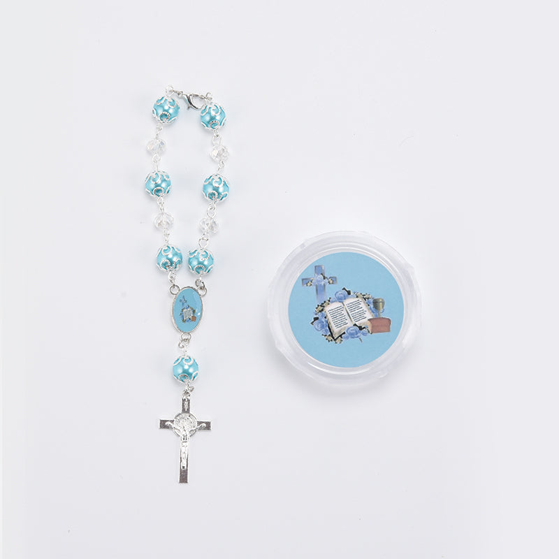 Communion Rosary Favors-Crucifix Pearl Rosary Bracelet With Gift Box.