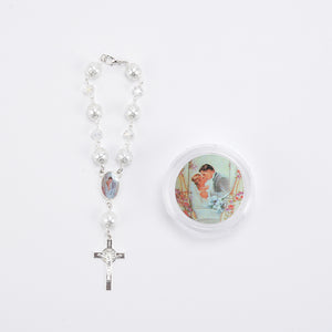 Wedding Rosary Crucifix Pearl Rosary Bracelet With Gift Box