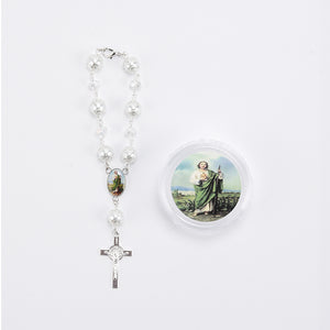 Rosary Favors For Baptism Crucifix Pearl Bracelet. Saint Jude.