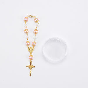Rosary Favors For Baptism Crucifix Rosary Bracelet-Gift Box