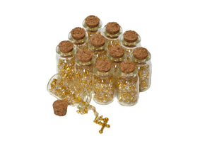 Rosary Cross Necklace-Rosary in Glass Jar Bottle