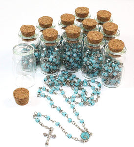 Rosary First Communion-Rosary in Glass Jar Crucifix Necklace.