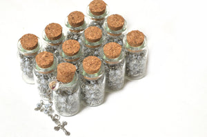 Rosary First Communion-Rosary Necklace in Glass Jar Bottle.