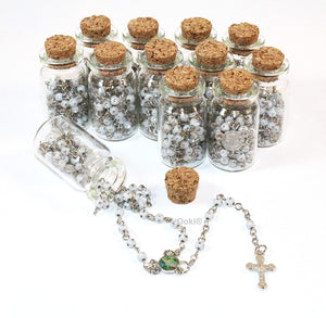 Rosary Cross Necklace-Guardian Angle Rosary in Glass Jar Bottle