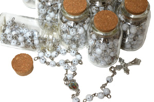 Rosary Cross Necklace-Our Lady Guadalupe Rosary Necklace in Glass Jar