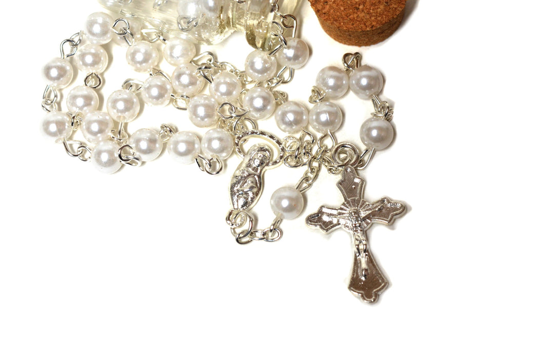 Rosary Cross Necklace-Rosary Necklace Catholic in Glass Jar