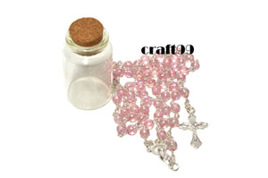 Rosary Cross Necklace-Crystal Rosary Necklace Catholic In Glass Jar