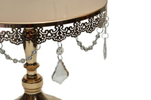 Load image into Gallery viewer, Cake Stand Crystal Drop Round Metal Tray