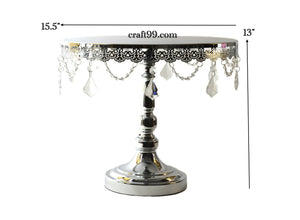 Cake Stand Crystal Drop Round Metal Tray