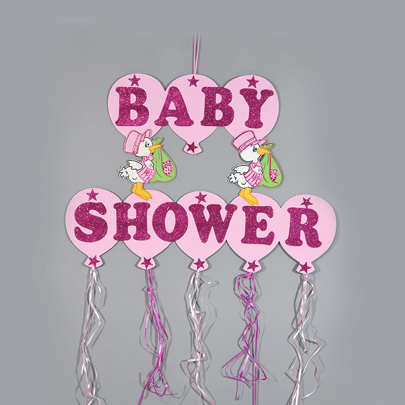 Baby Shower Banner Design Glitter Foam Stork Figurine.