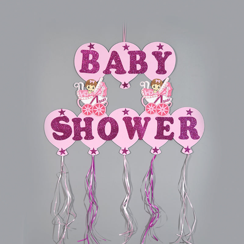 Baby Shower Banner Design Glitter Foam Baby Carriages