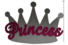 Load image into Gallery viewer, Baby Shower Banner-Silver Princess Crown Glitter Foam