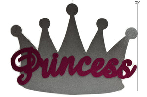 Baby Shower Banner-Silver Princess Crown Glitter Foam