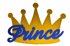 Baby Shower Party Favors-Prince Crown Gold Glitter Foam