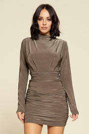 Ruched Detail Solid Mini Dress