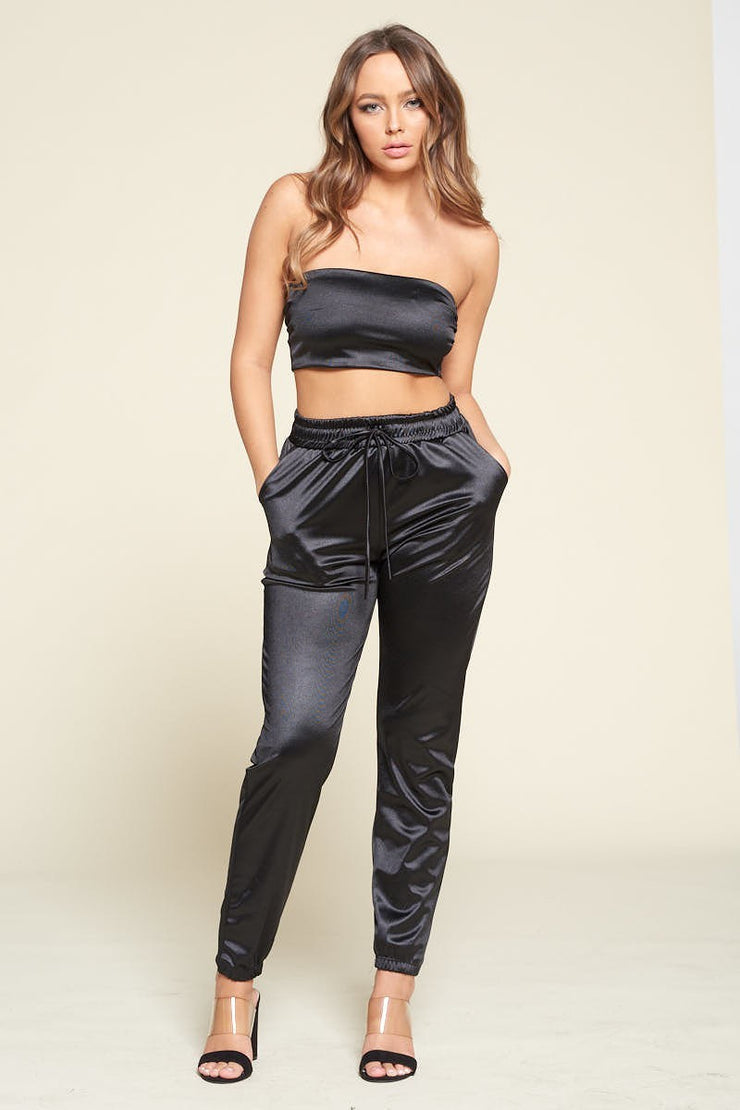 Silky Tube Top Pant Set