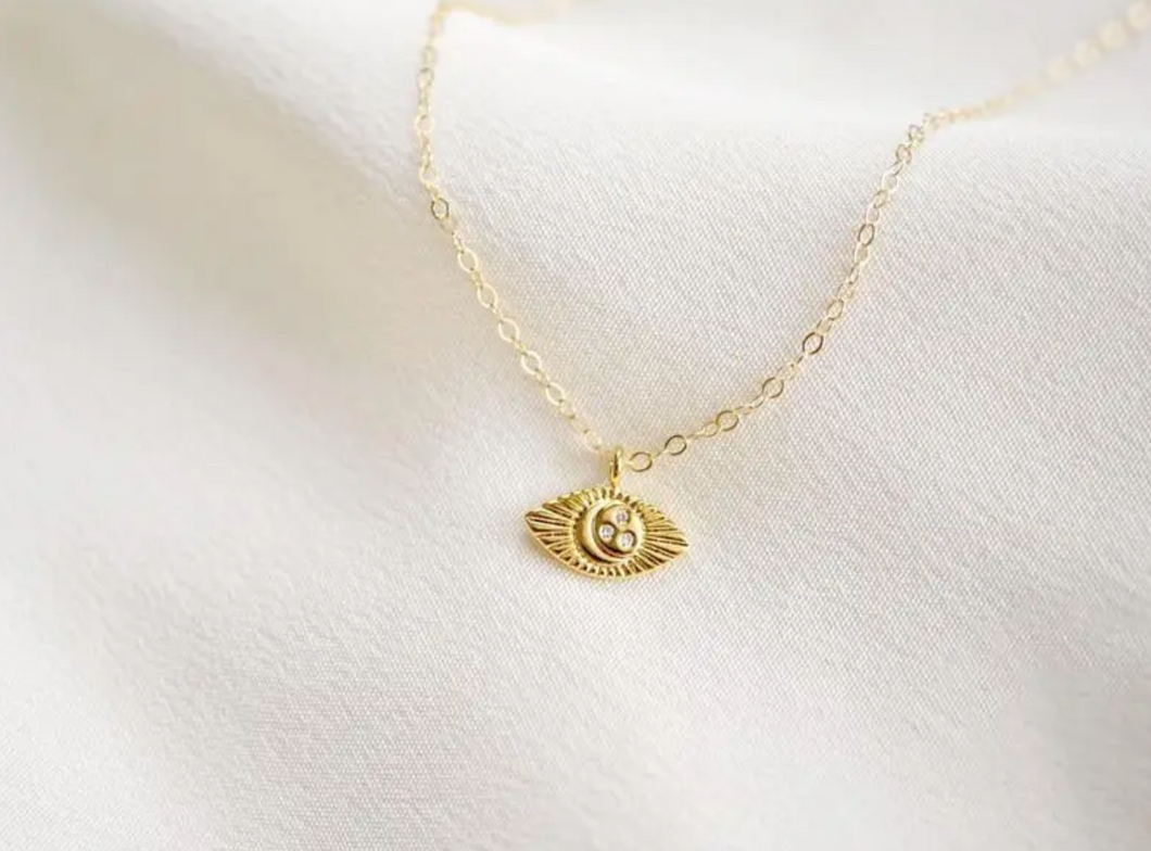 Luna Evil Eye Gold Necklace