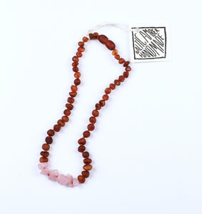 Kids Raw Cognac Amber + Raw Rose Quartz Necklace