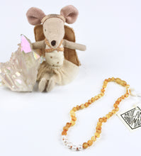 Load image into Gallery viewer, Kids Raw Honey Amber + Pearl Necklace
