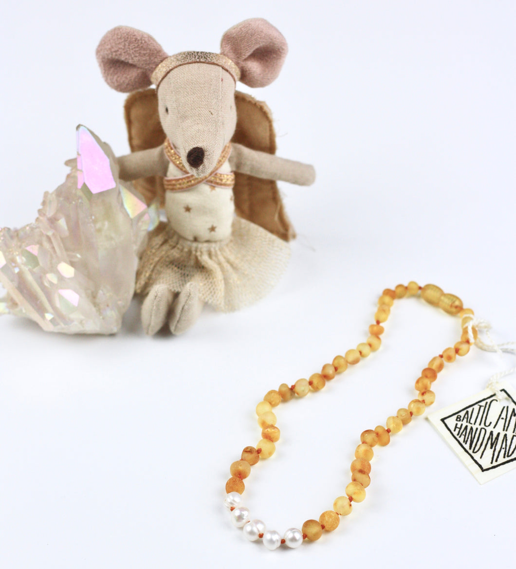 Kids Raw Honey Amber + Pearl Necklace