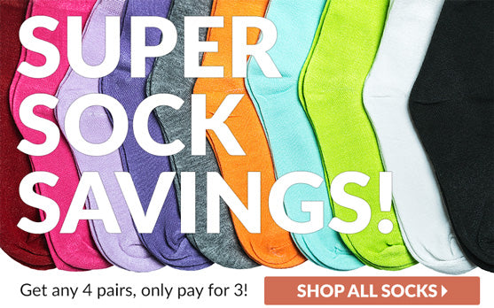Super Socks Savings - Get Any 4 Pairs Only Pay for 3 - Crew Sock Collection Link