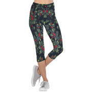 Holly Christmas 3/4 Capri Leggings