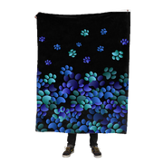 Blue Flying Paw Prints Fleece Blanket