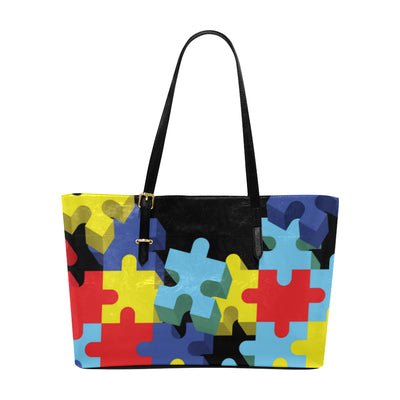 Autism Awareness Pieces Leather Tote Bag