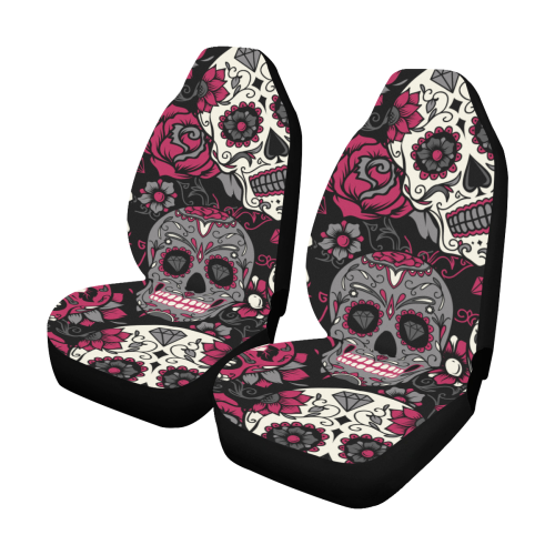 Black And Pink Sugar Skull Car Seat Covers Set Of 2