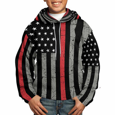 Thin Red Line All Over Print Kids Hoodie