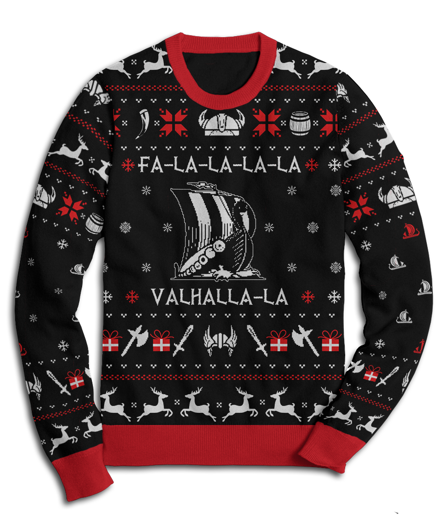 valhalla viking christmas fleece sweatshirt - Viking Christmas