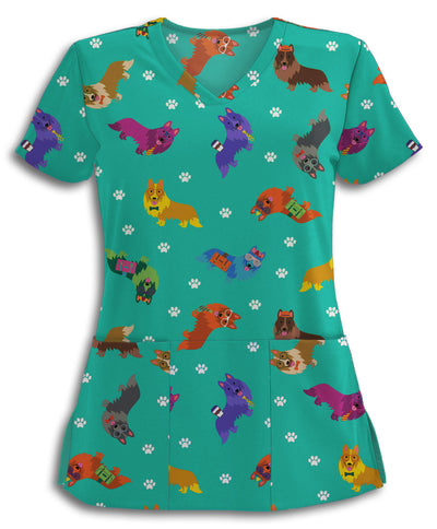 Colorful Hip Shelties Scrub Top
