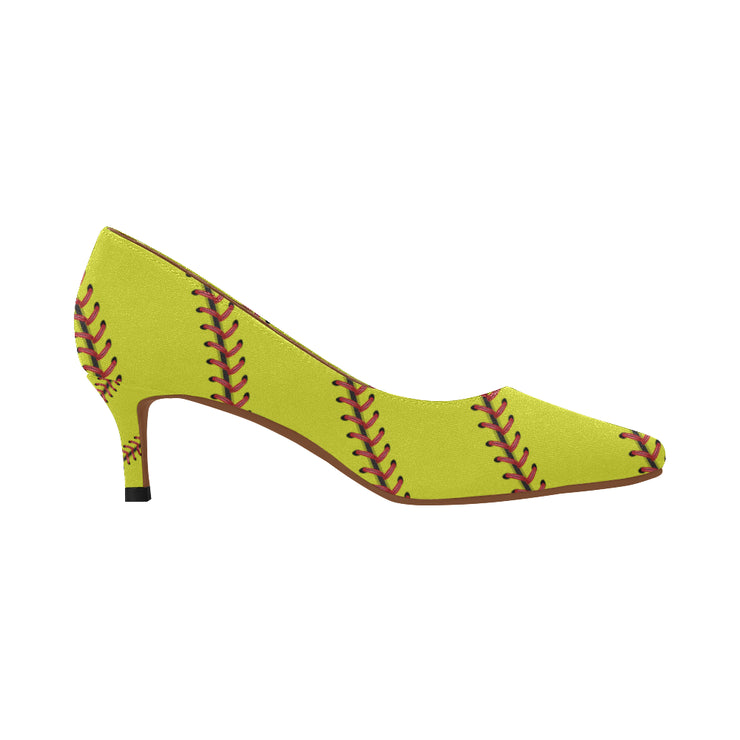 Softball Stitches Women's Pointed Toe Low Heel Pumps