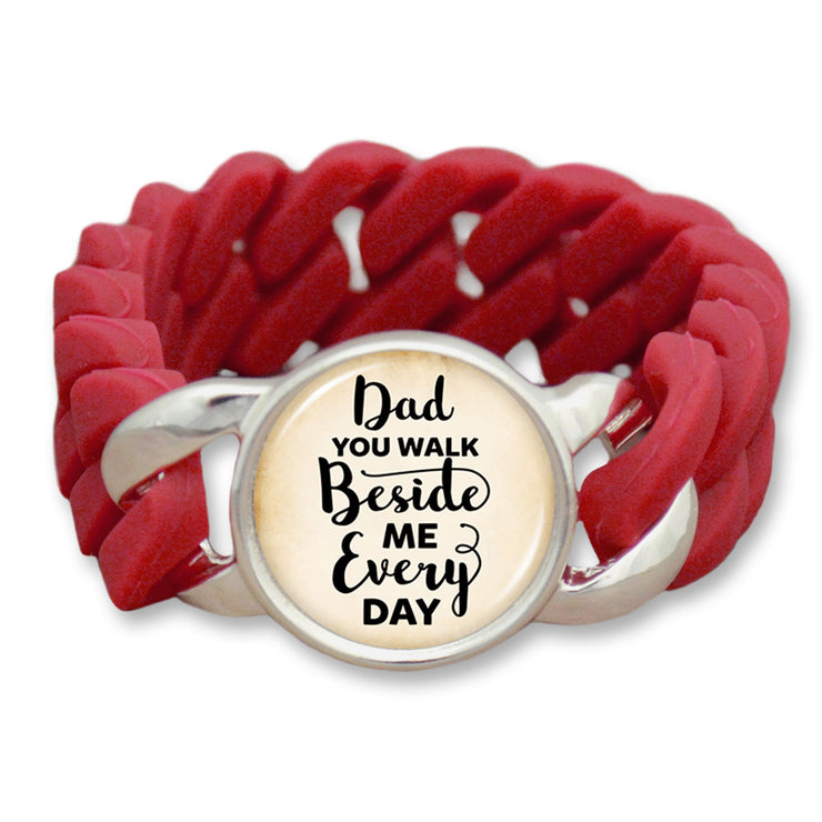 Dad You Walk Beside Me Every Day Colored Silicone Stretch Bracelet