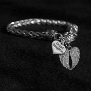 Angel Wings Family Member Silver Braided Clasp Charm Bracelet