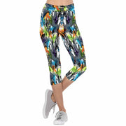 Paint Splattered Thunder Horses Gray 3/4 Capri Leggings