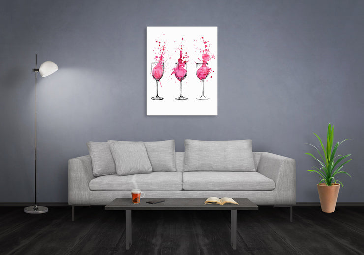 16x20 - Splatter Wine Glasses Canvas Wall Art
