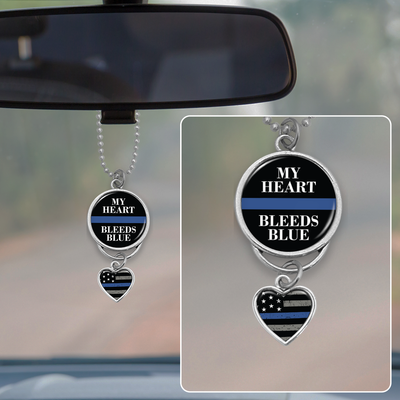 My Heart Bleeds Blue Rearview Mirror Charm