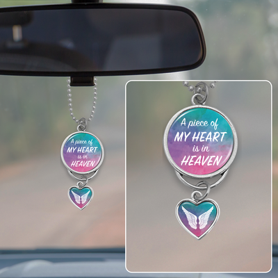 Watercolor Piece Of My Heart Rearview Mirror Charm