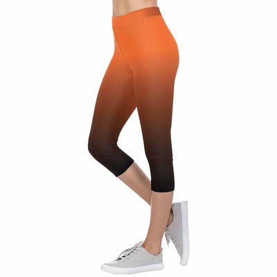 San Francisco Orange and Black Ombre 3/4 Capri Leggings