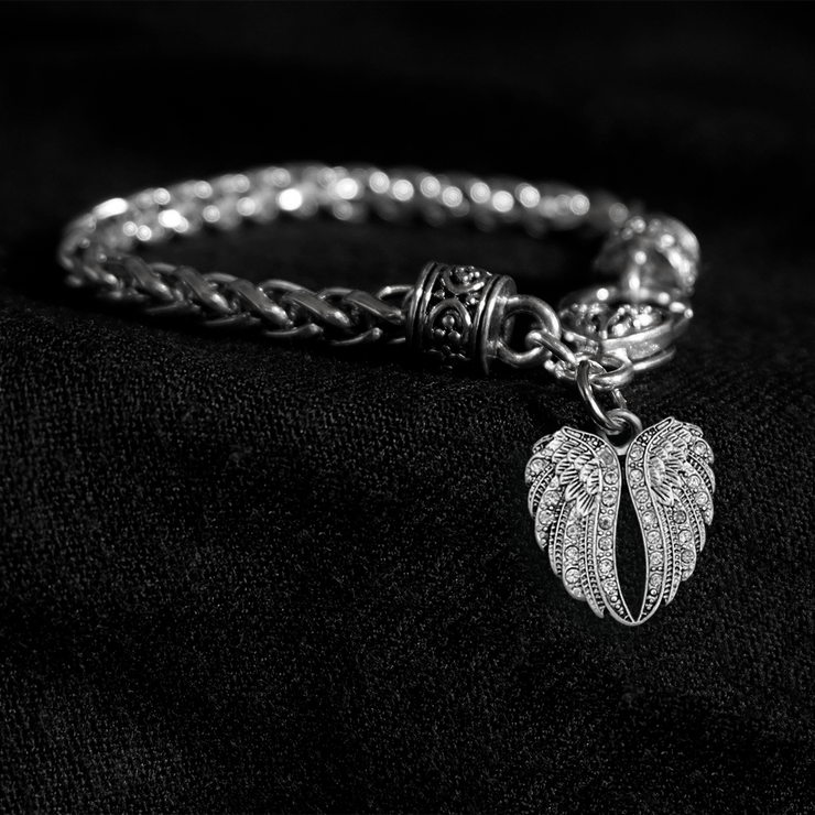Crystal Angel Wings Silver Braided Clasp Charm Bracelet