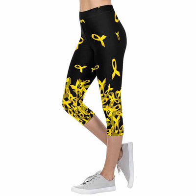 Childhood Cancer Awareness Flying Ribbon 3/4 Capri Leggings