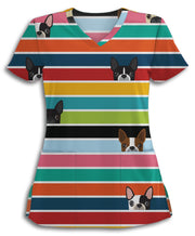 Peek-a-Boo Boston Terriers Scrub Top