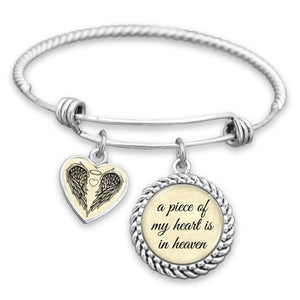 A Piece Of My Heart Is In Heaven Charm Bracelet