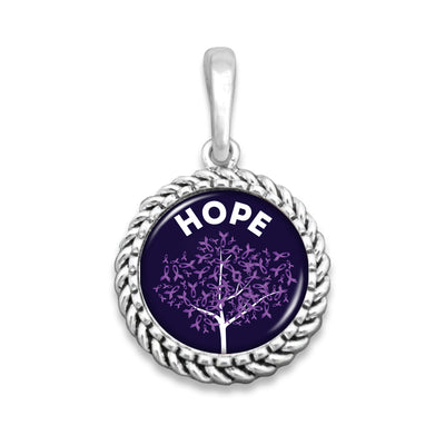 Hope Tree Alzheimer's Awareness Ribbon Easy-O Zipper Pull Charm